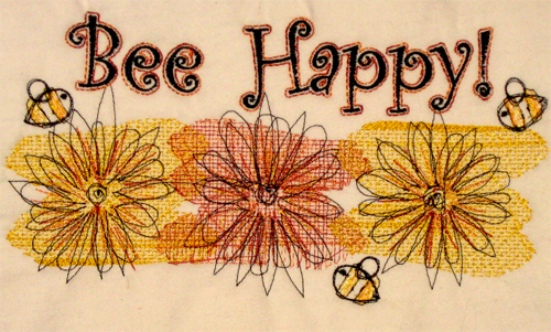Bee Happy Machine Embroidery, Scrappy Cats Designs